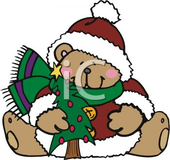 Christmas Bear Holding Tree