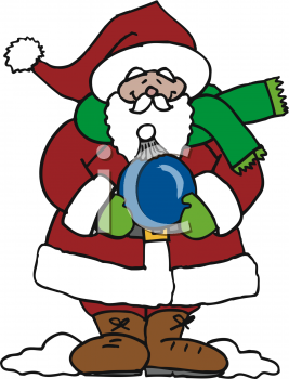Santa Claus Holding A Christmas Ornament