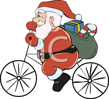 Santa Riding A Bicycle With His Sack Of Presents