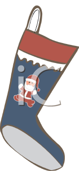 Christmas Stocking Decorated With Santa Claus