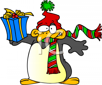 Christmas Gifts Clip Art.Penguin Holding Christmas Gift Royalty Free Clip Art Picture