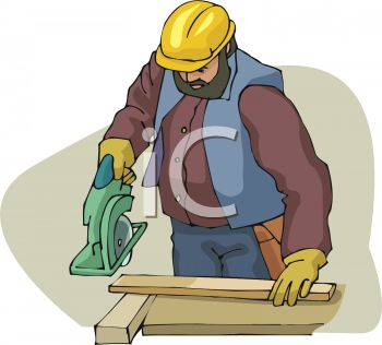 A Carpenter With A Circular Saw Cutting A Board