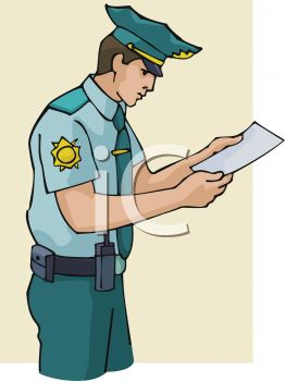 A Police Officer Reading A Sheet Of Paper