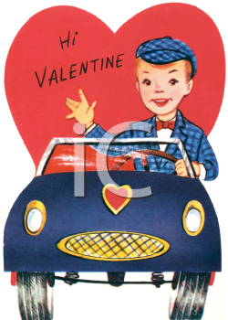 Vintage Valentine Card Showing a Boy Driving a Sports Car