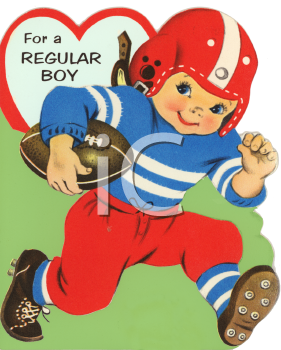 Vintage Valentine Card Showing a Boy Playing Football  Royalty
