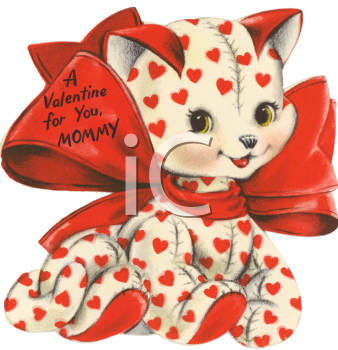 Vintage Valentine Card Showing a Stuffed Kitty with Hearts