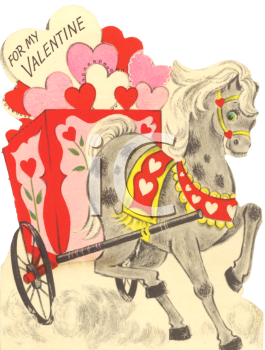 Vintage Valentine Card Showing a Horse Pulling a Cart of Hearts
