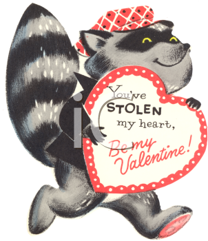 Vintage Valentine Card Showing a Bandit Raccoon