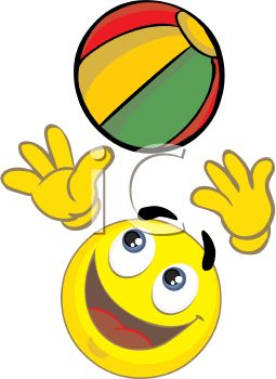 Cartoon of a Happy Face Playing with a Beach Ball