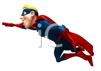 3D Superhero Flying Off to Fight Crime