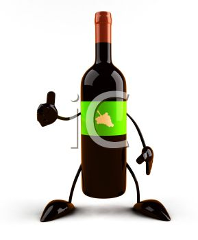 3D Wine Bottle Giving the Thumbs Up