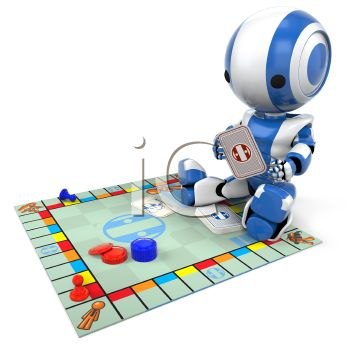 3D Robot Child Playing a Board Game
