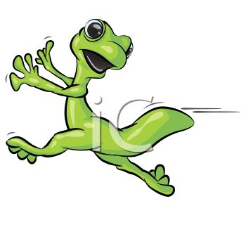 "This ""cartoon gecko running scared"" clipart image is available through a low"