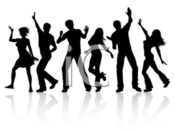 Silhouette of Young People Dancing