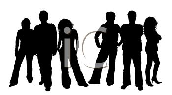 Silhouette of a Group of Young Adults