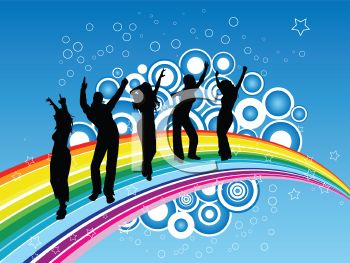 Silhouette of Young People Dancing on a Rainbow