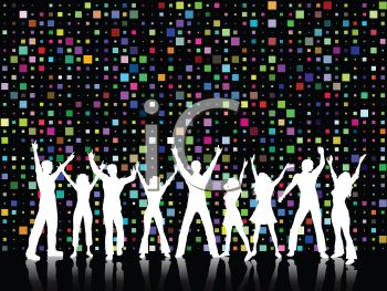 Silhouette of a Crowd of People at a Disco - Royalty Free Clip Art ...