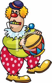 Funny Clown Playing a Drum