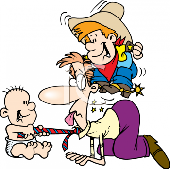 "This ""cartoon of a dad playing with his kids"" clip art image is available as"