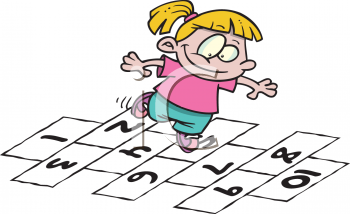 little girl playing hopscotch - royalty free clip art image