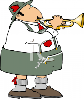 Polka Musician Playing a Trumpet