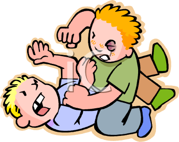 Two boys fighting royalty free clip art illustration