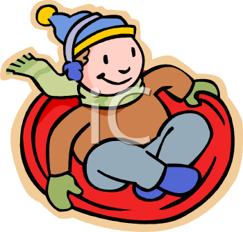 Boy Riding a Toboggan