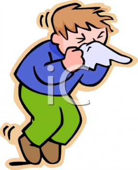 Sick Boy Blowing His Nose - Royalty Free Clip Art Picture