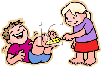 Girl Tickling Her Brother with a Feather