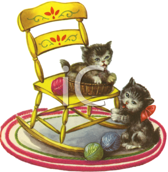 Vintage Kittens Playing In A Yarn Basket Royalty Free Clip