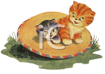 Vintage Kittens Playing in a Straw Hat