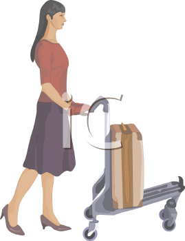 Woman Pushing an Airport Luggage Cart