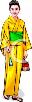 Japanese Woman Wearing a Yellow Kimono