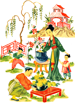 japanese scene of a family in the garden royalty free clip art rh clipartguide com free garden clipart graphics free garden clipart black and white