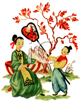 Japanese Scene of a Boy Fanning a Seated Woman