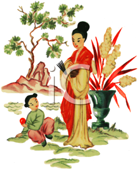 Japanese Scene of a Woman and Her Daughter