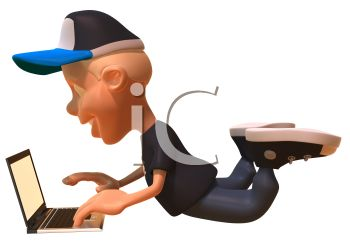 Royalty Free Clipart Image: 3D Boy Using a Laptop Computer