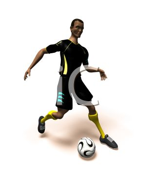 African 3D Athlete Kicking a Soccer Ball