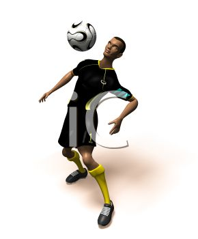 Black 3D Athlete Bouncing a Soccer Ball off His Chest
