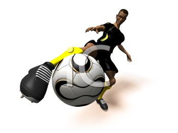 3D African American Athlete Kicking a Soccer Ball