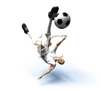 3D Athlete Kicking a Soccer Ball From Underneath