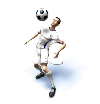 3D Soccer Player Bouncing the Ball off His Chest