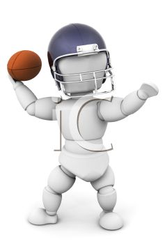 3d Robot Throwing A Football Royalty Free Clip Art Image