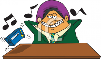 Cartoon of a Businessman Listening to the Radio at Work