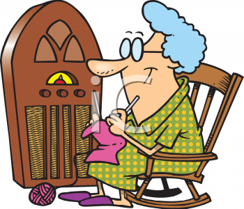Cartoon of a Grandmother Knitting While Listening to a Radio Program