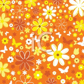 retro 1970s floral background