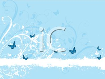 Blue Butterflies and White Floral Background