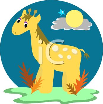 "This ""baby giraffe"" clipart image is available through a low cost"