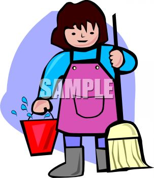 Woman Holding a Mop and Bucket