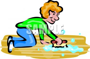 Woman Washing a Floor with a Scrub Brush